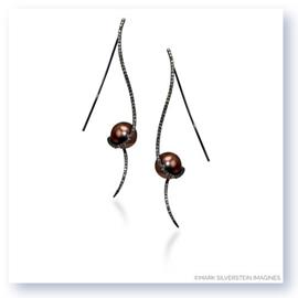 Mark Silverstein Imagines Black Rhodium Plated 18K Yellow Gold Clef Diamond and Chocolate Colored South Sea Pearl Earrings