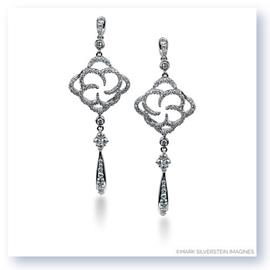 Mark Silverstein Imagines 18K White Gold Flower Inspired Dangle Diamond Earrings