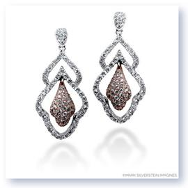 Mark Silverstein Imagines 18K White and Rose Gold Art Deco Inspired Diamond Dangle Earrings
