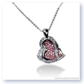 Mark Silverstein Imagines 18K White and Rose Gold Diamond and Sapphire Double Layer Heart Pendant