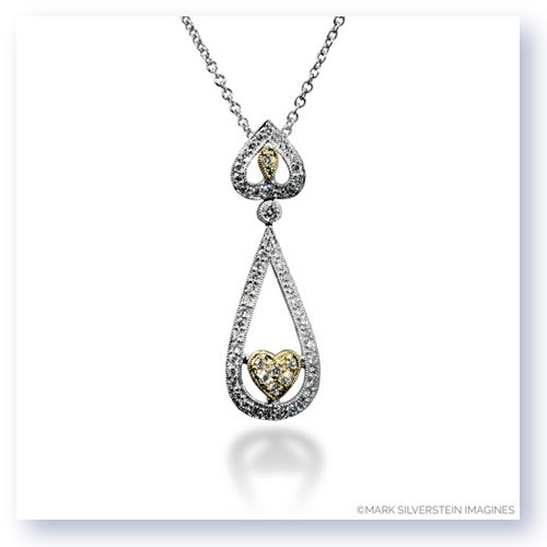 Mark Silverstein Imagines 18K White and Yellow Gold Open Tear Drop and Heart Pendant