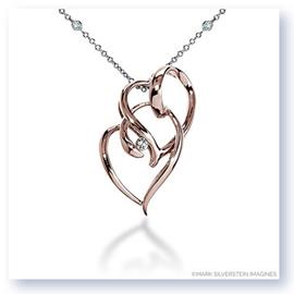 Mark Silverstein Imagines 18K Rose Gold Intersecting Hearts Diamond Pendant