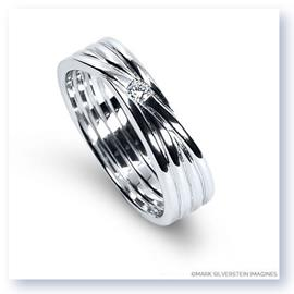 Mark Silverstein Imagines 18K White Gold Four Loop Diamond Men's Wedding Band