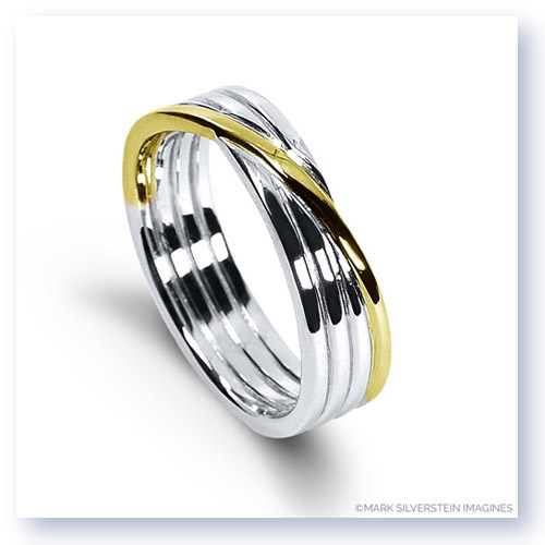 Mark Silverstein Imagines 18K White and Yellow Gold Polished Four Loop Men's Wedding Band