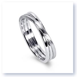 Mark Silverstein Imagines 18K White Gold Brushed Three Loop Men's Wedding Band