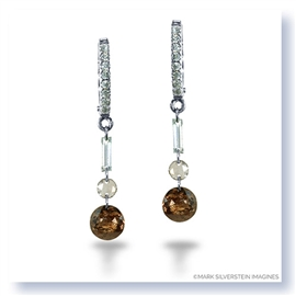 Mark Silverstein Imagines 18K White Gold and Platinum White and Cognac Diamond Dangle Earrings