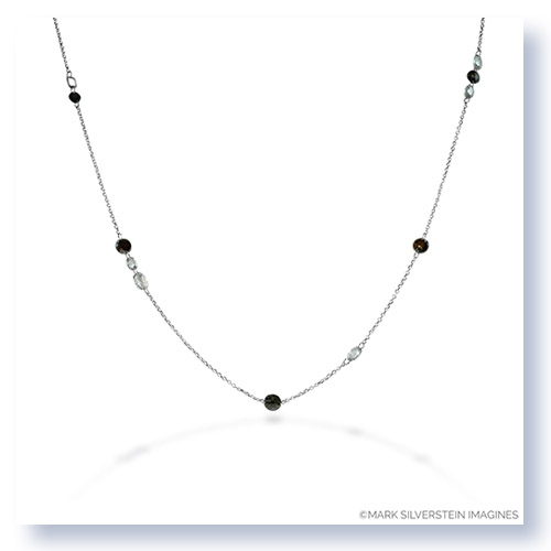 Mark Silverstein Imagines 18K White Gold and Platinum Fancy Colored and White Rose Cut Diamond Necklace