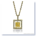 Mark Silverstein Imagines 18K Yellow Gold and Platinum Square Box Shaped Yellow and White Diamond Pendant Necklace