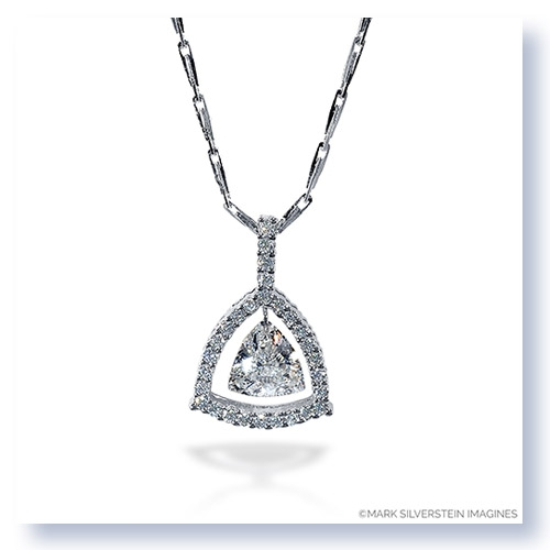 Mark Silverstein Imagines 18K White Gold and Platinum Trillion Shaped Diamond Pendant Necklace