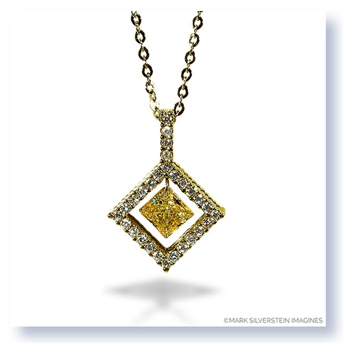 Mark silverstein imagines 18k yellow gold and platinum diamond shaped yellow and white diamond pendant necklace larger photo email a friend aloadofball Images