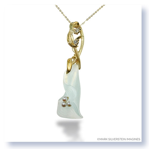 Mark Silverstein Imagines Hand Carved 18K Yellow Gold and Aquamarine Calla Lily with Diamonds and Pearl Pendant Necklace