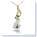 Mark Silverstein Imagines Hand Carved 18K Yellow Gold and White Quartz Calla Lily with Cognac Diamonds Pendant Necklace